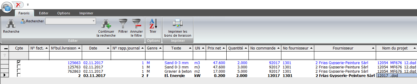 Screenshot aperçu des livraisons