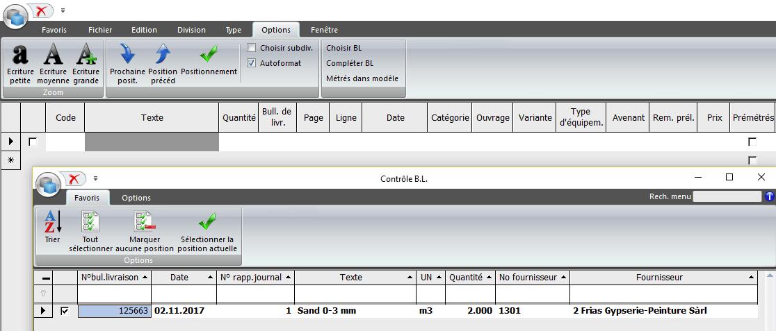 Screenshot logiciel des bons de livraison