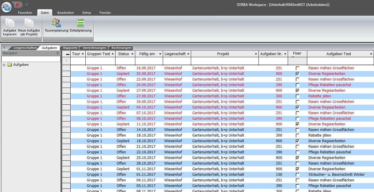 Screenshot Übersicht Aufgaben Liegenschaftsverwaltung