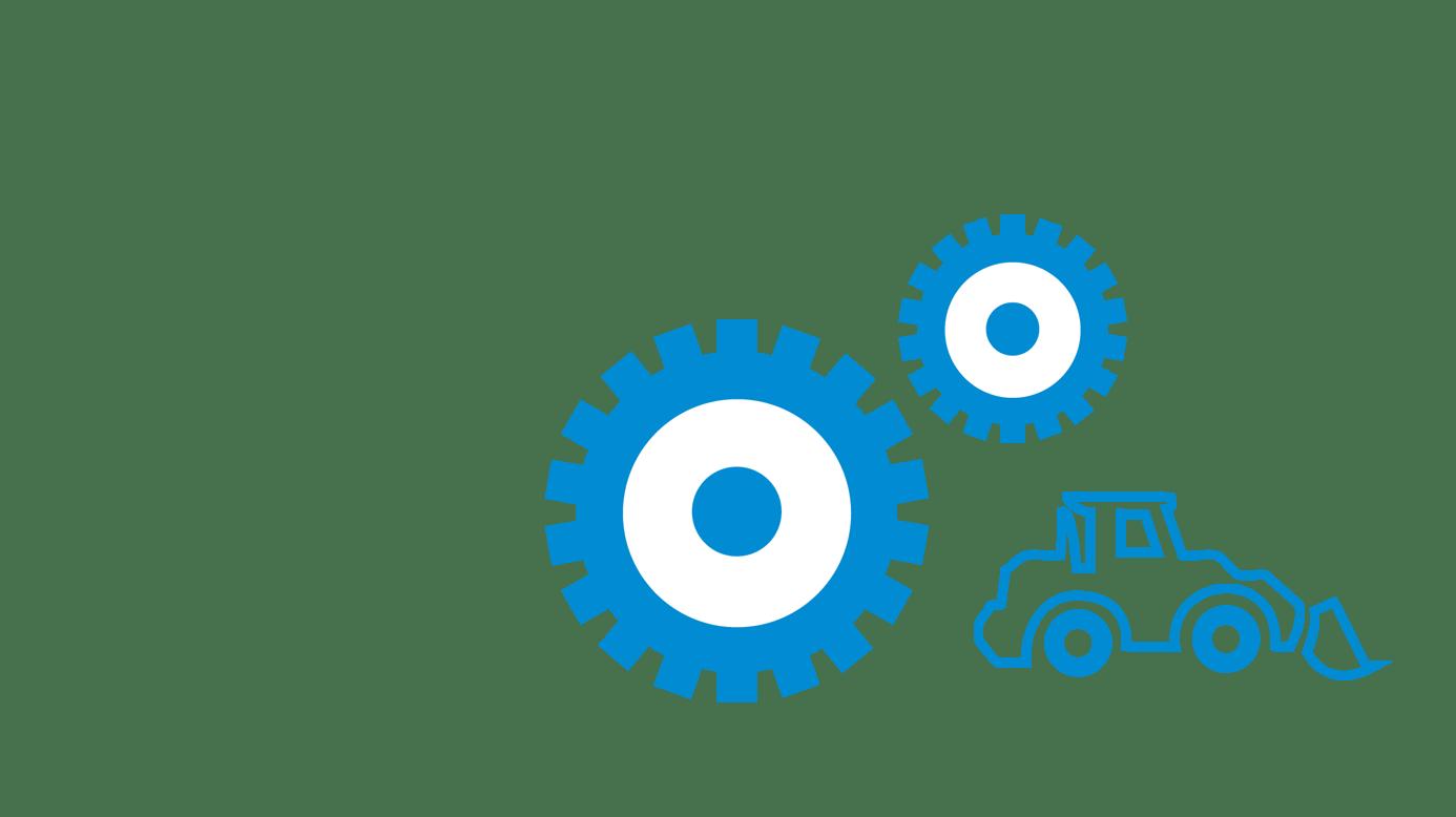 icône roue d'engrenage et machine de construction