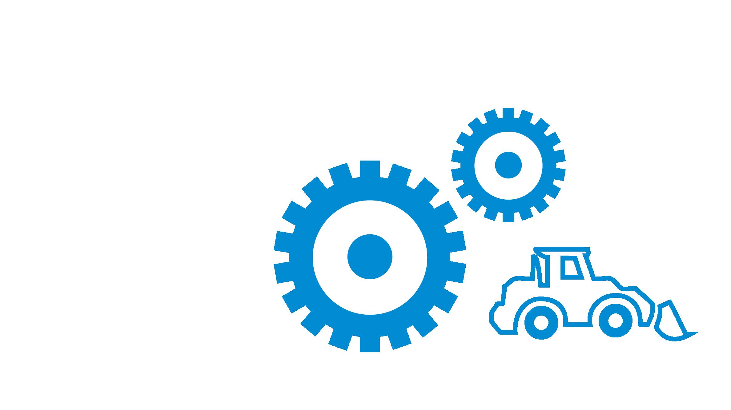 Icon Zahnrad mit Baumaschine