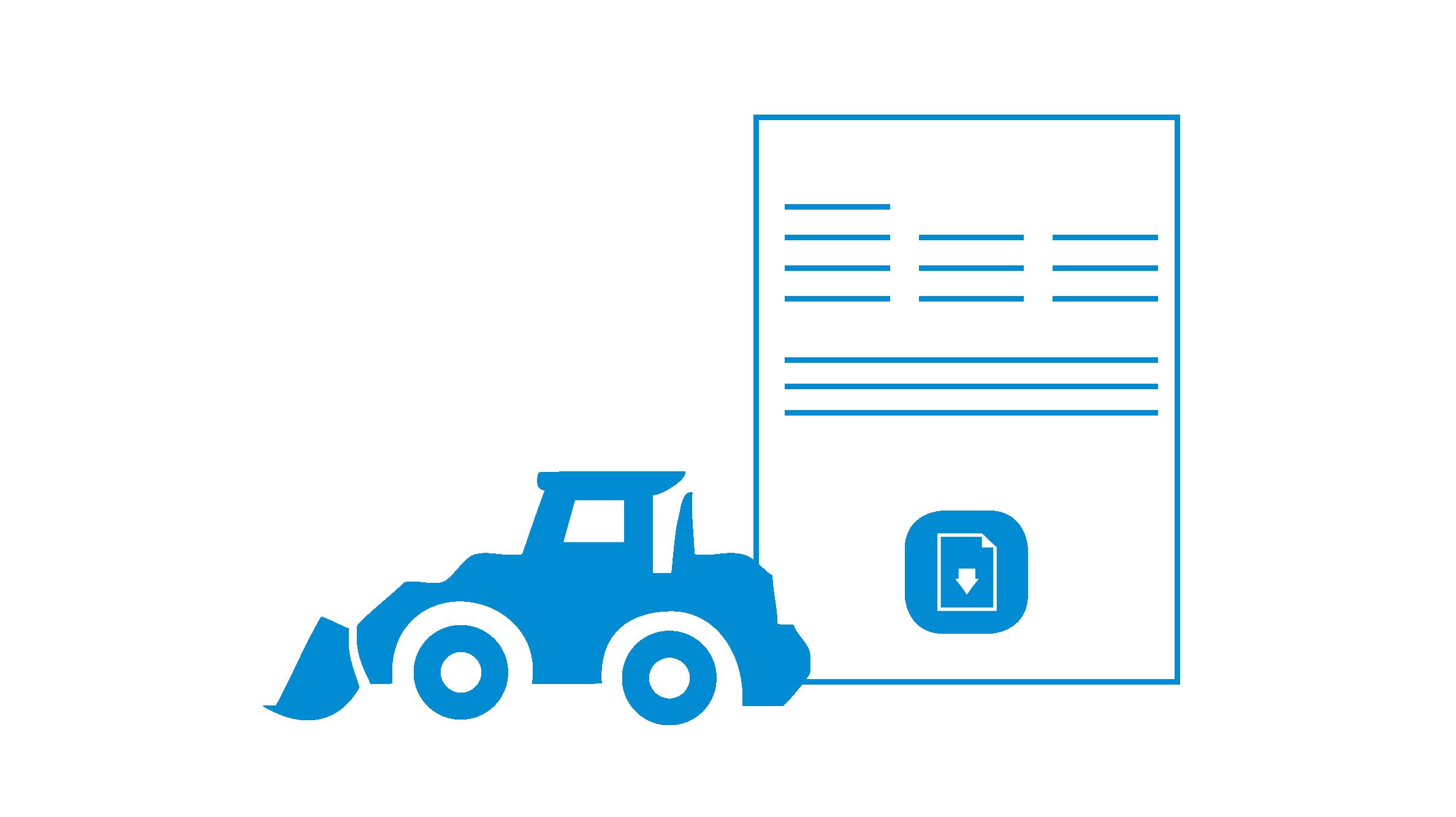Icon Baumaschine mit Zettel