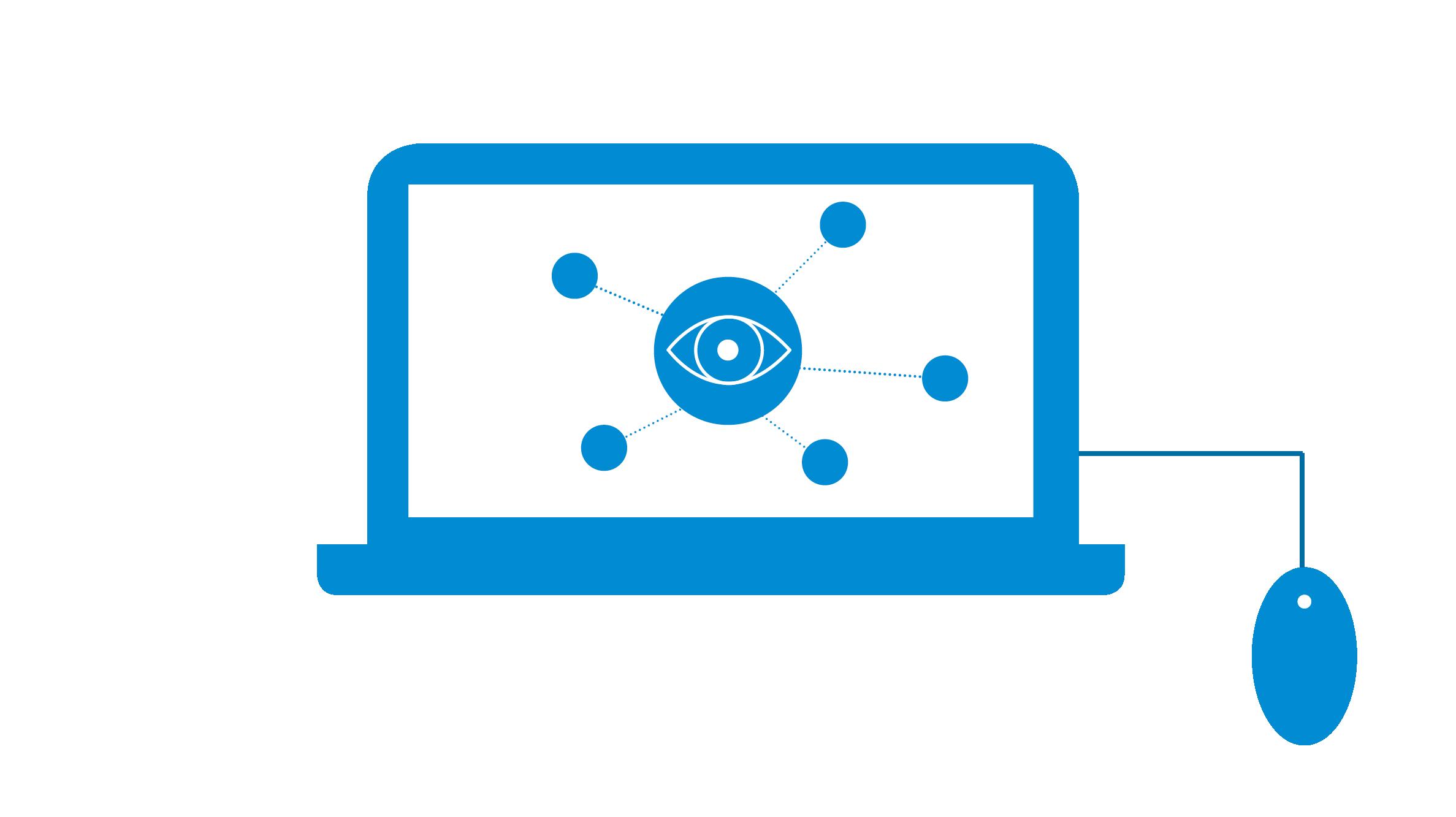 Icon Computer mit Netzwerk Überblick