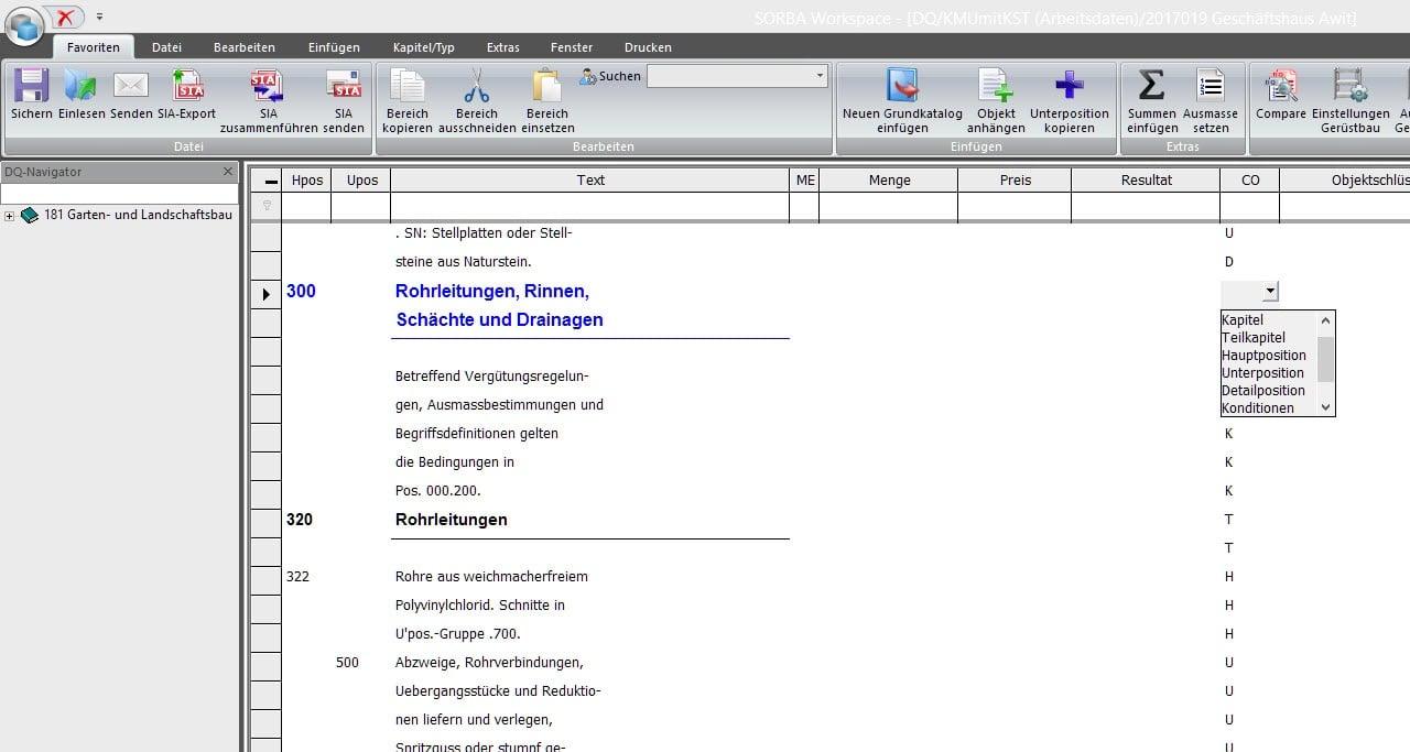 Screenshot Software Leistungsbeschreibung