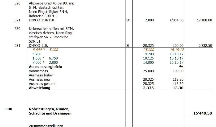 Screenshot Ausmass und Leistungsbeschreibung