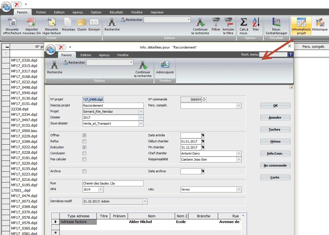 Screenshot définition propriétés de projets
