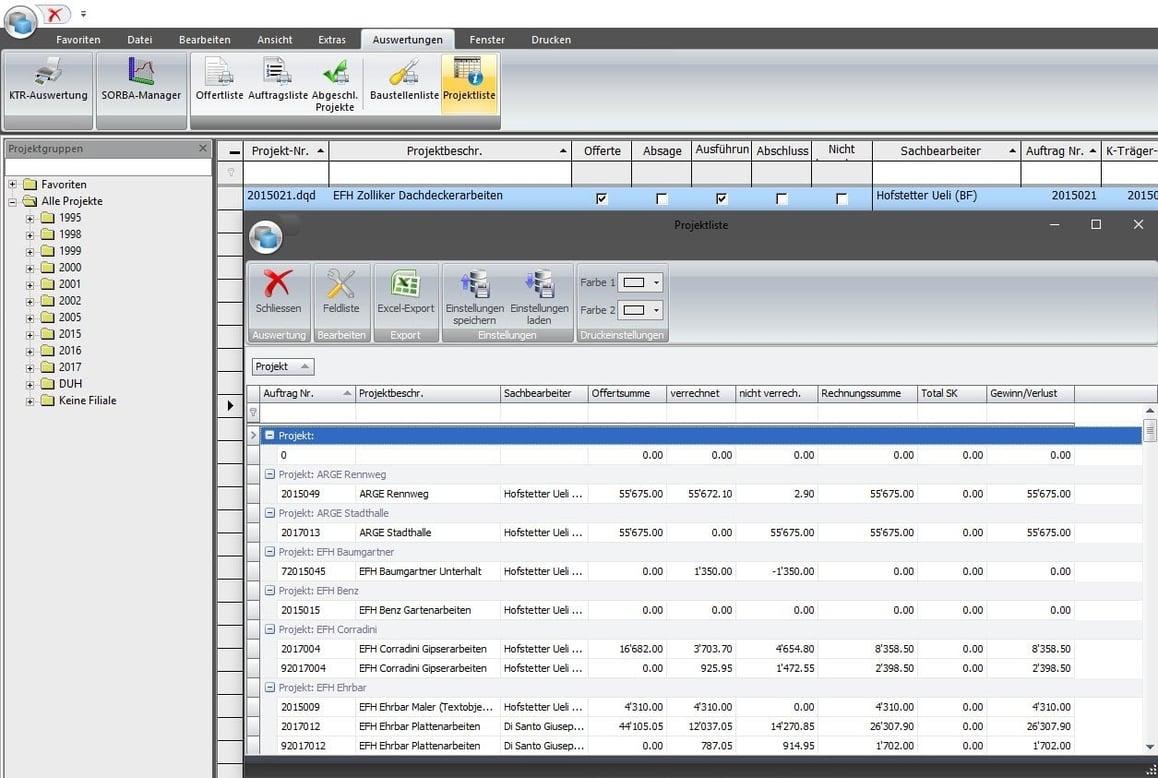 Screenshot Software individuelle Auswertungen