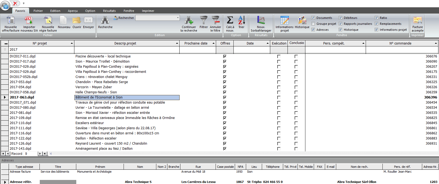 Screenshot logiciel personnes de références et adresses