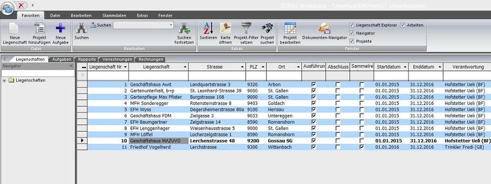 Screenshot Liegenschaftsverwaltung
