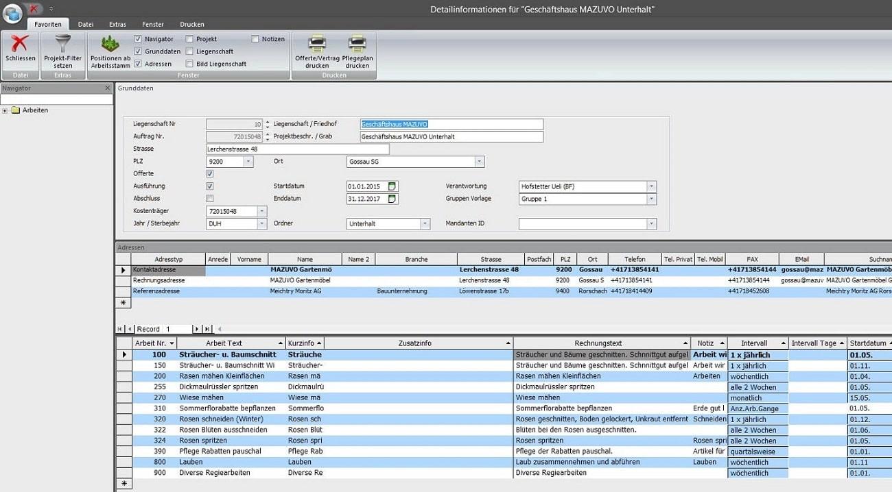 Screenshot Aufgabenplanung einer Liegenschaft