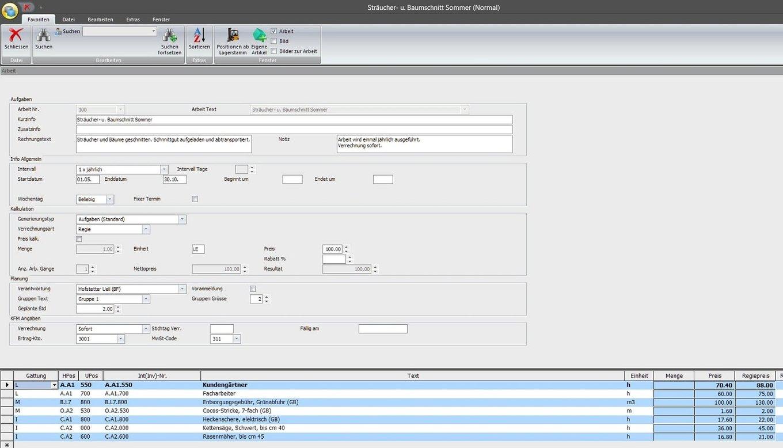 Screenshot programme facturation travaux entretien pour nettoyage et conciergerie