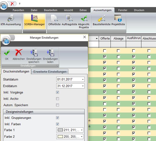 Screenshot SORBA-Manager