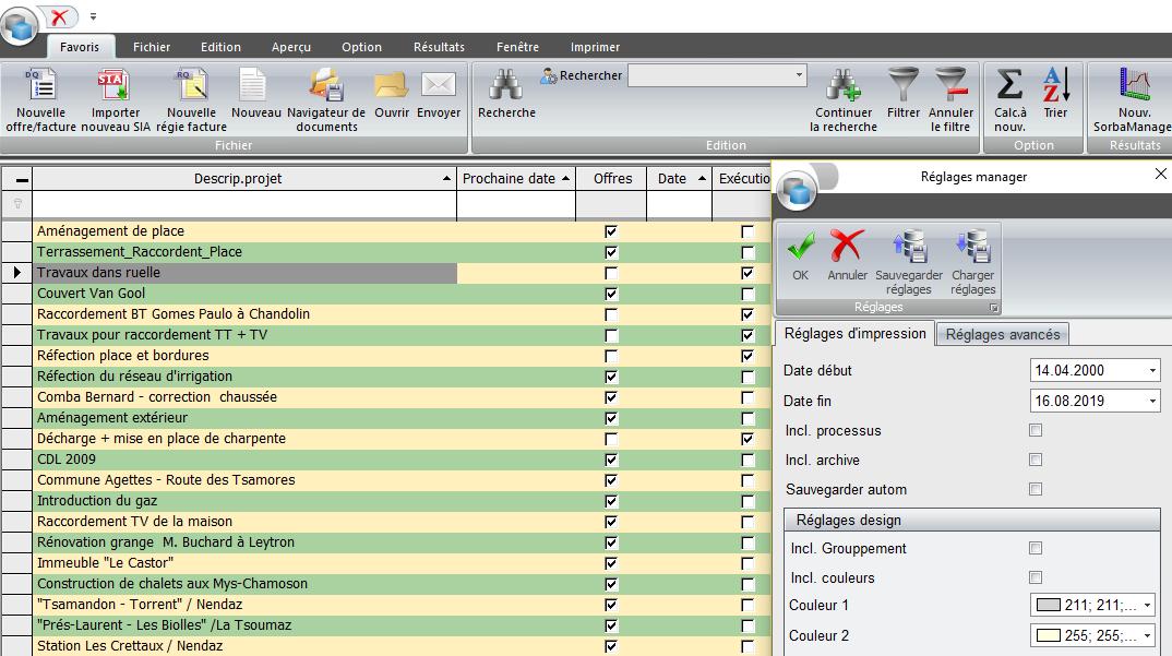Capture d'écran de SORBA-Manager