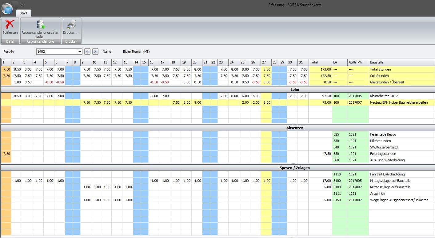 Screenshot Software SORBA Stundenkarte