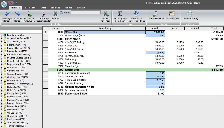 Screenshot Bearbeitung Stunden im Lohn