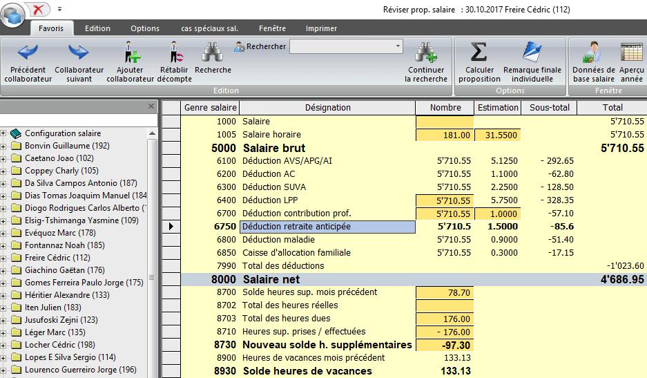 Screenshot traitement des heures dans la comptabilité des salaires