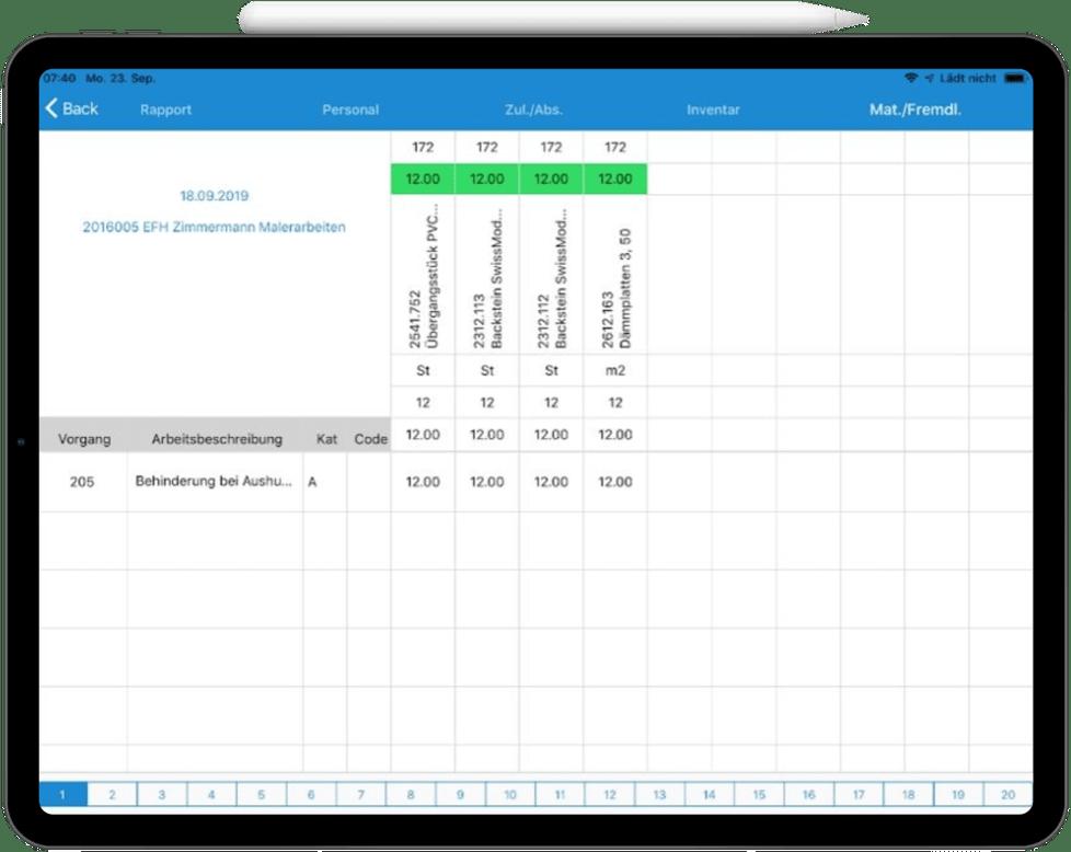 Screenshot Ipad mit Ansicht der Rapportierung
