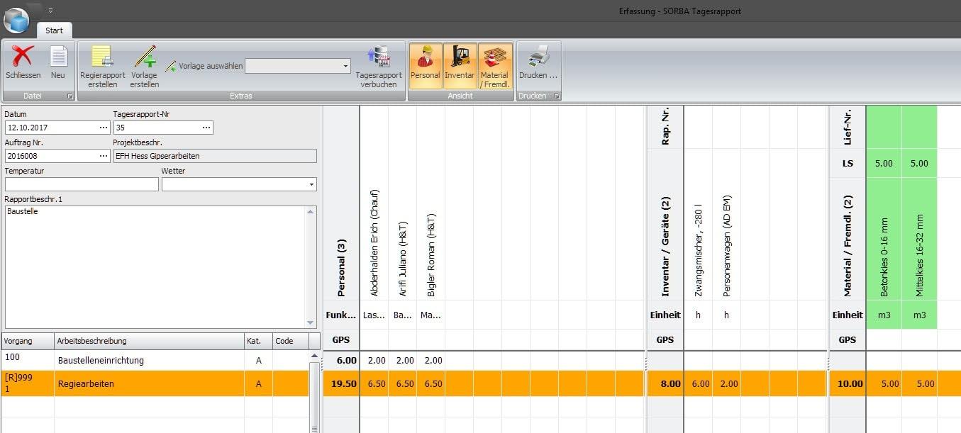 Screenshot der Rapportierung im Programm mit Regiearbeiten