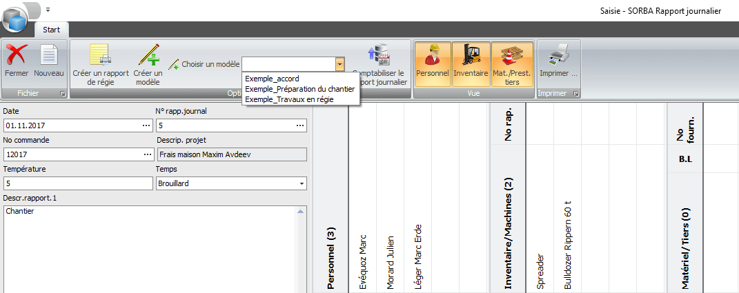 Screenshot modèle de rapport journalier