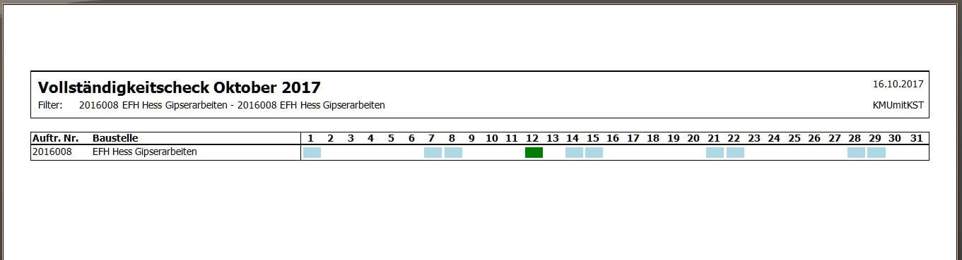 Screenshot nach der Durchführung des Vollständigkeits-Checks