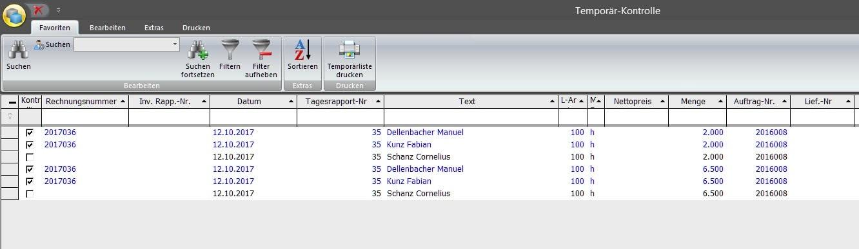 Screenshot fonction de contrôle