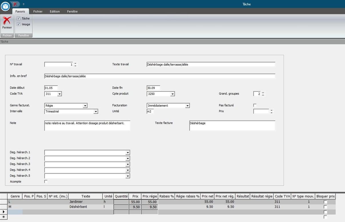 Screenshot planification des tâches