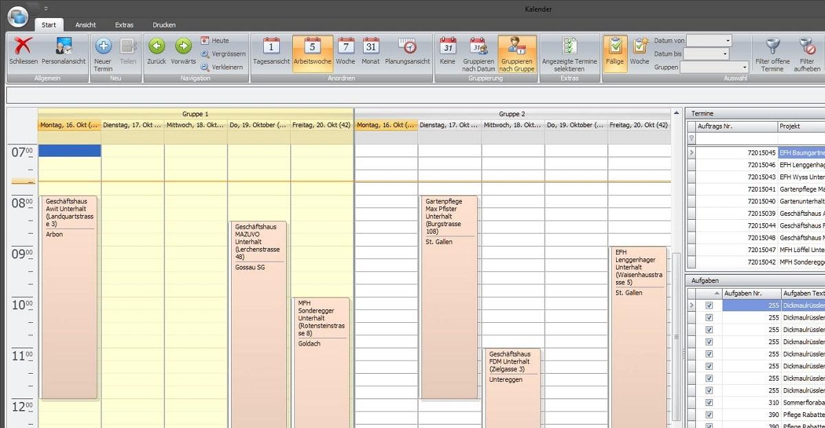 Screenshot Mitarbeiterplanung