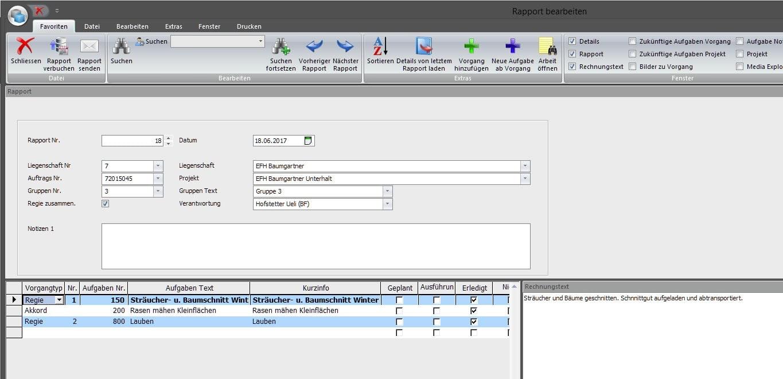 Screenshot Software Arbeitsbeschreibungen als Vorlagen