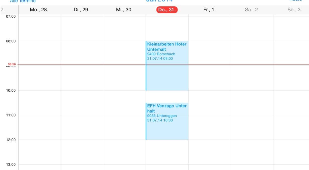 Screenshot Kalender Planung Unterhalt