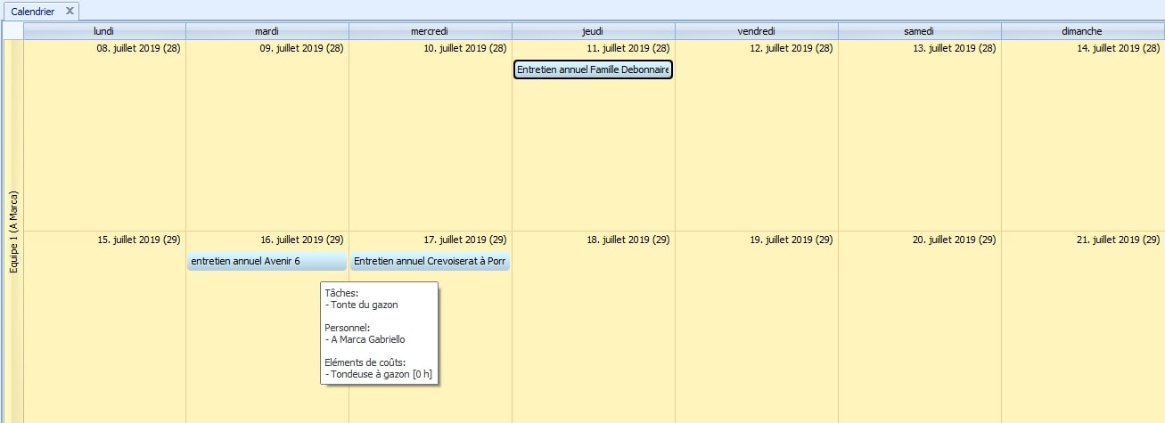 Screenshot calendrier planification entretien