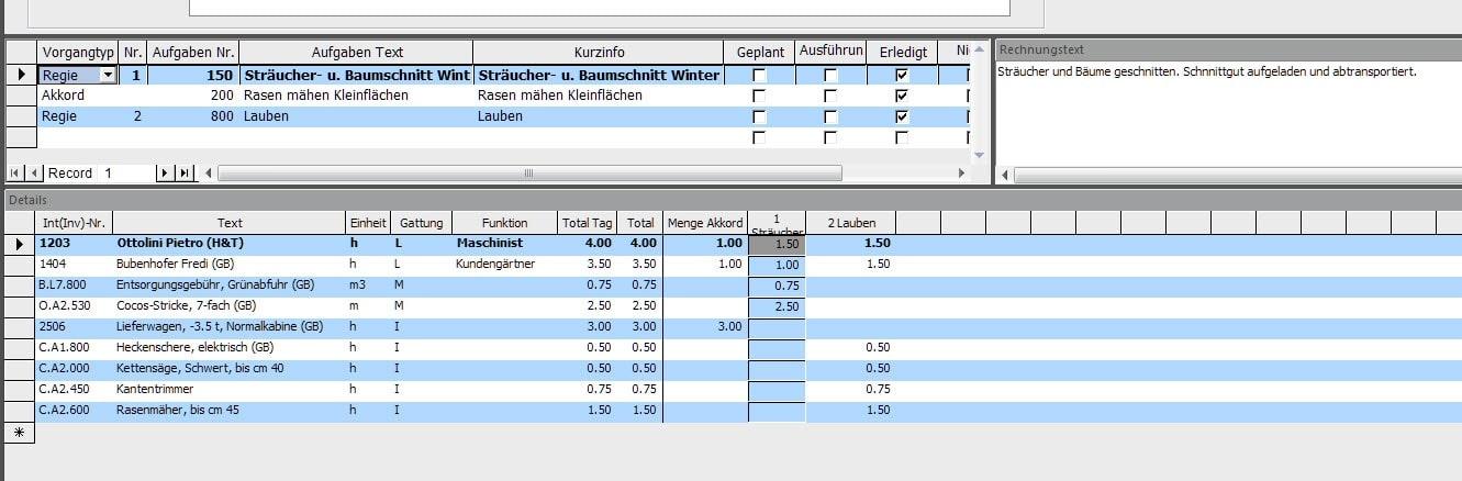 Screenshot Datenstamm Unterhalt