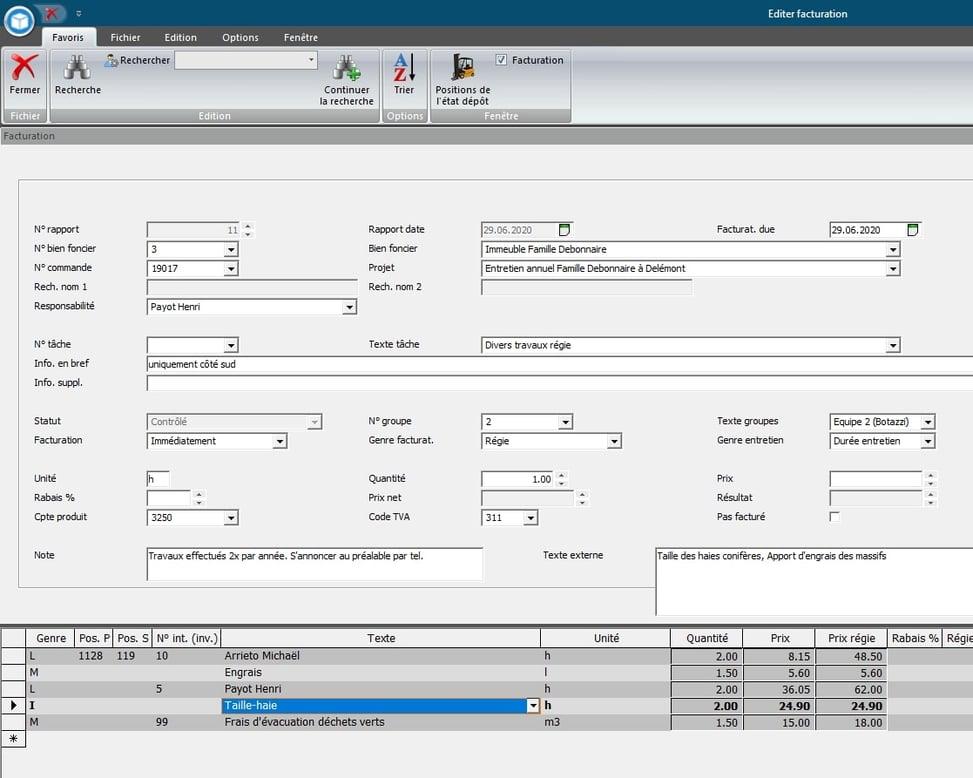 Screenshot traitement des rapports d'entretien