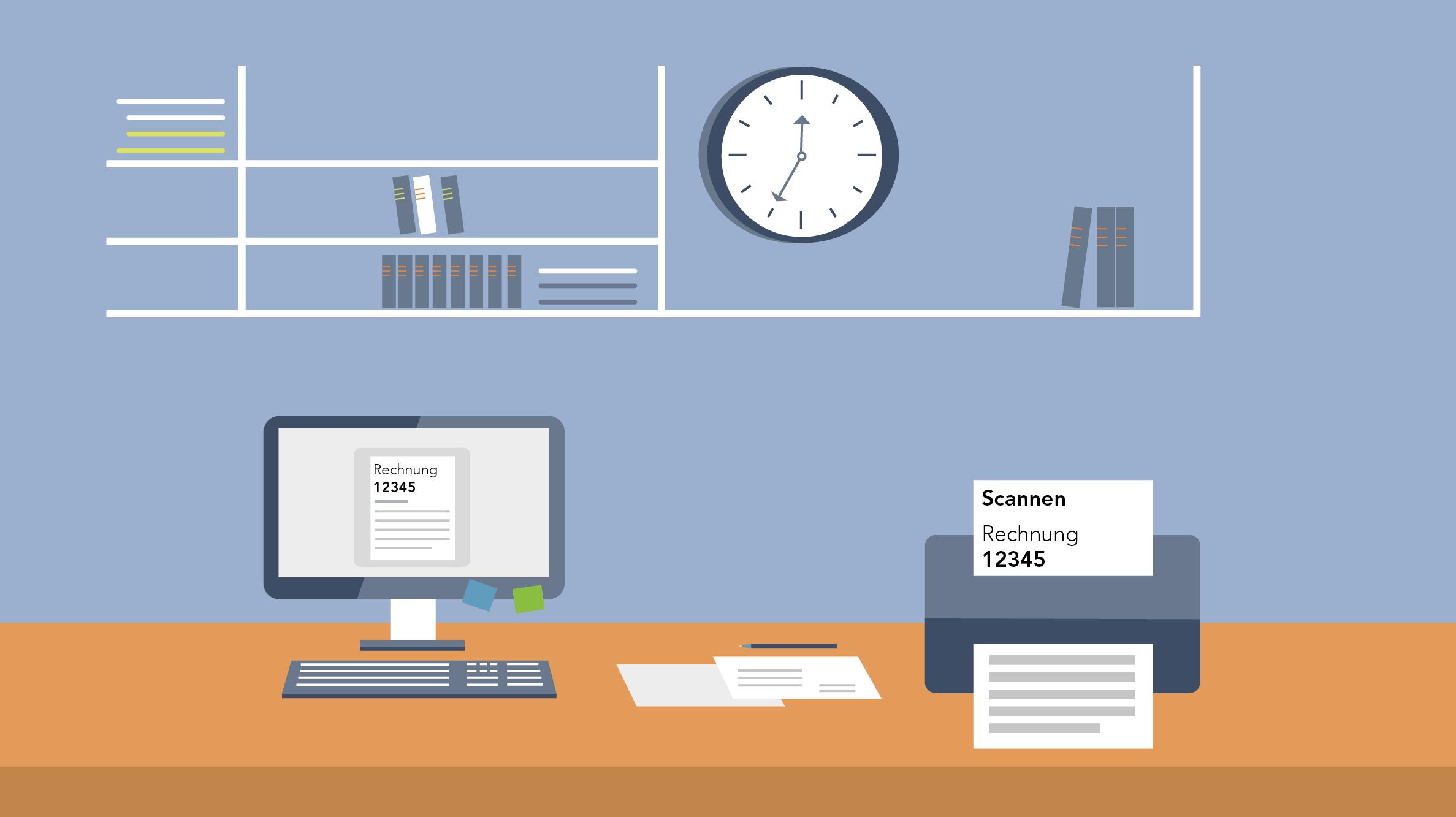 Grafik Büro mit Drucker und Computer