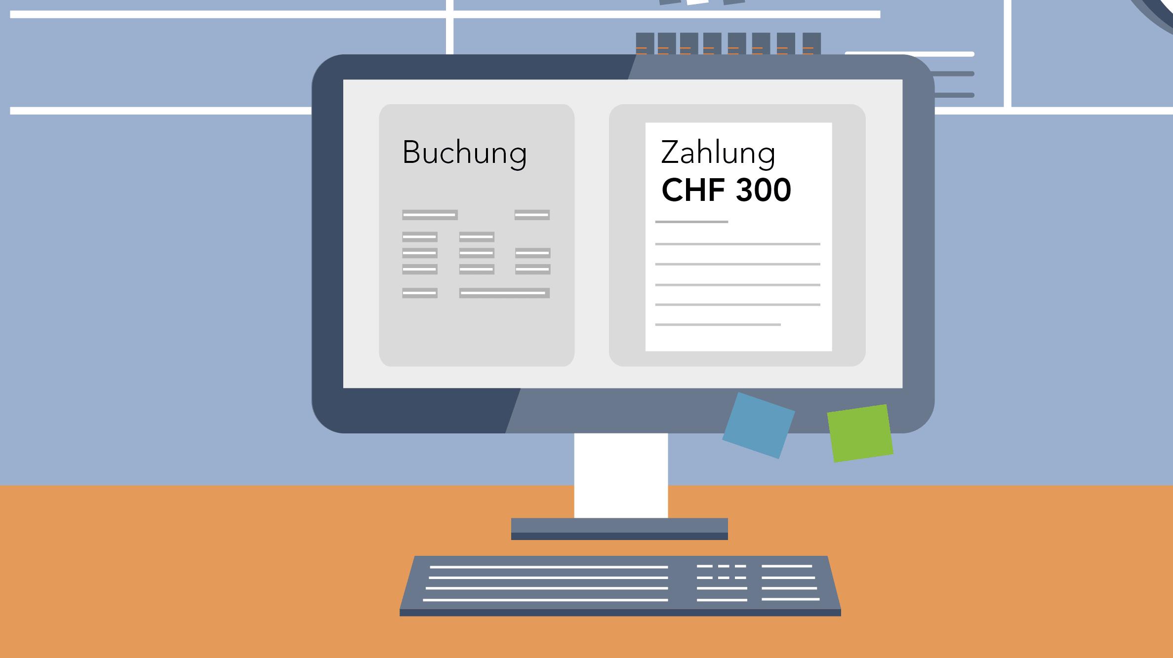 Grafik Computer mit Buchung und Zahlung
