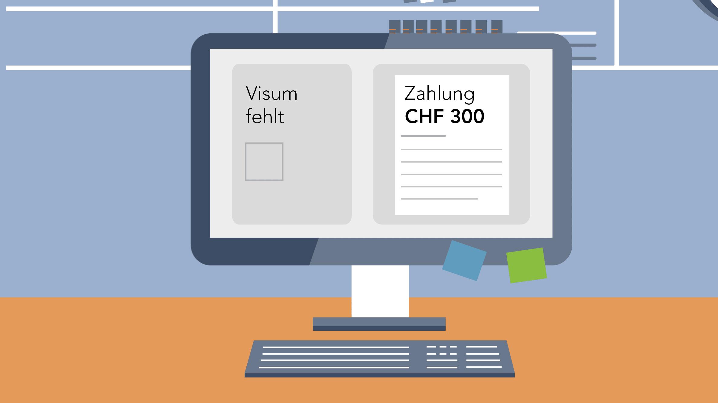 Grafik Computer mit fehlender Visierung und Zahlung