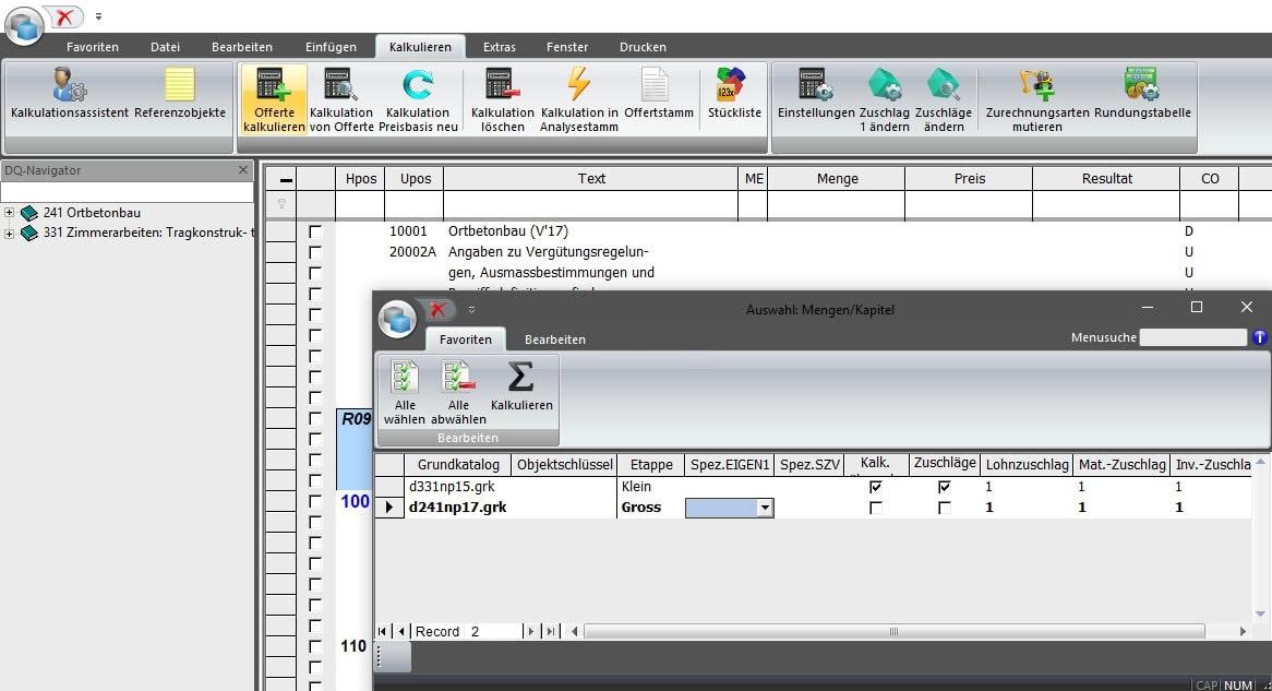 Screenshot Software Vorkalkulation