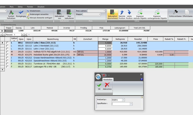 Screenshot Software Vorkalkulation lernende Kalkulation