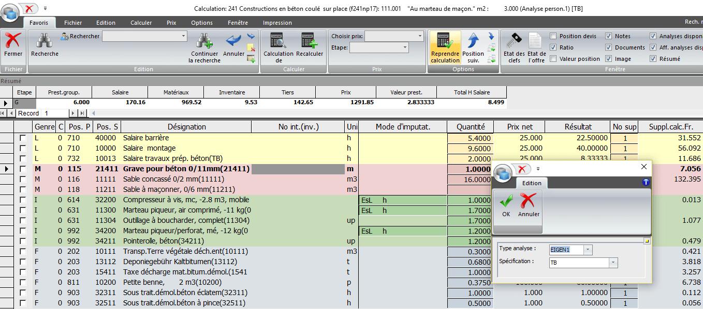 Screenshot logiciel calculation charpente
