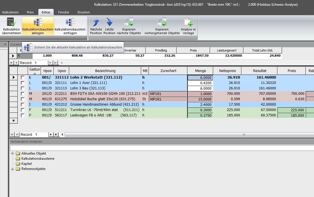 Screenshot Software Kalkulationsbausteine