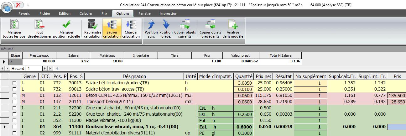 Screenshot logiciel calculation modèle