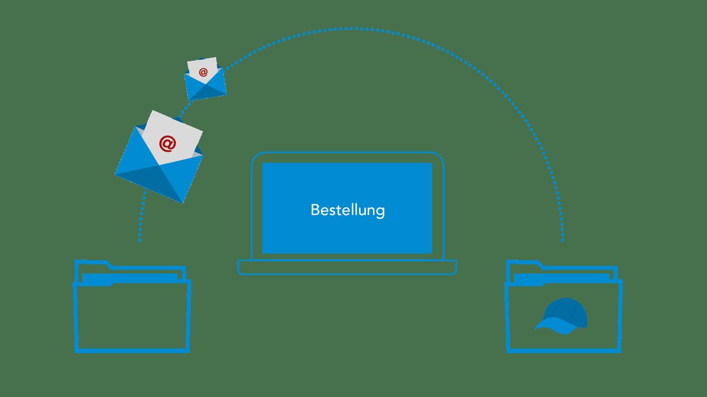 Icon Computer mit zwei Dokumentenmappen, die verbunden werden