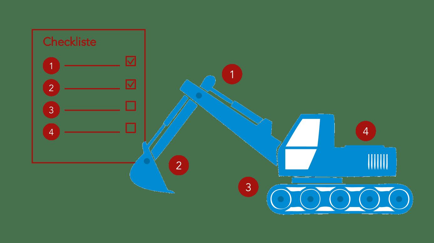 Icon Baumaschine mit Checkliste