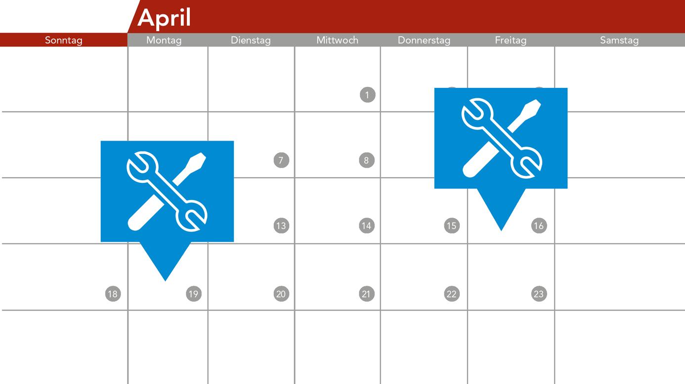 Icon Kalender mit Werkzeug Icon