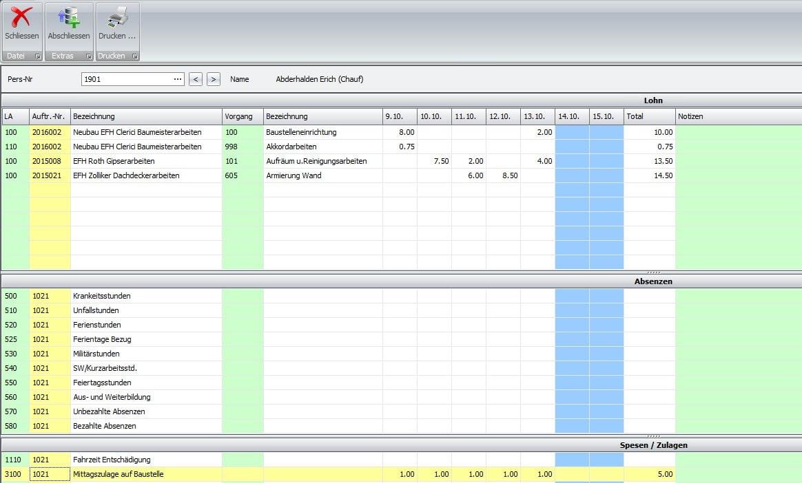 Screenshot Rapportierung Ist-Stunden