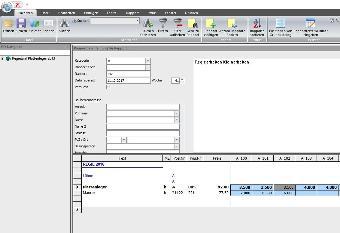Screenshot Datentransfer in Regie-Abrechnung