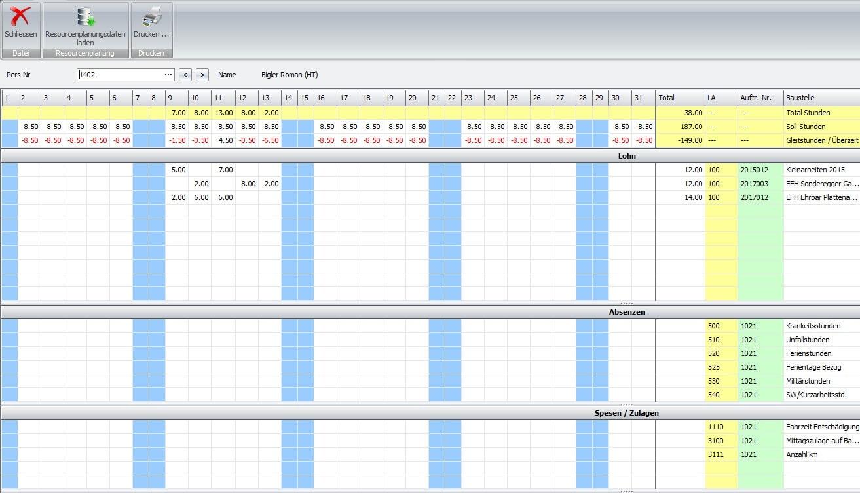 Screenshot Stundenkarte Mitarbeiter