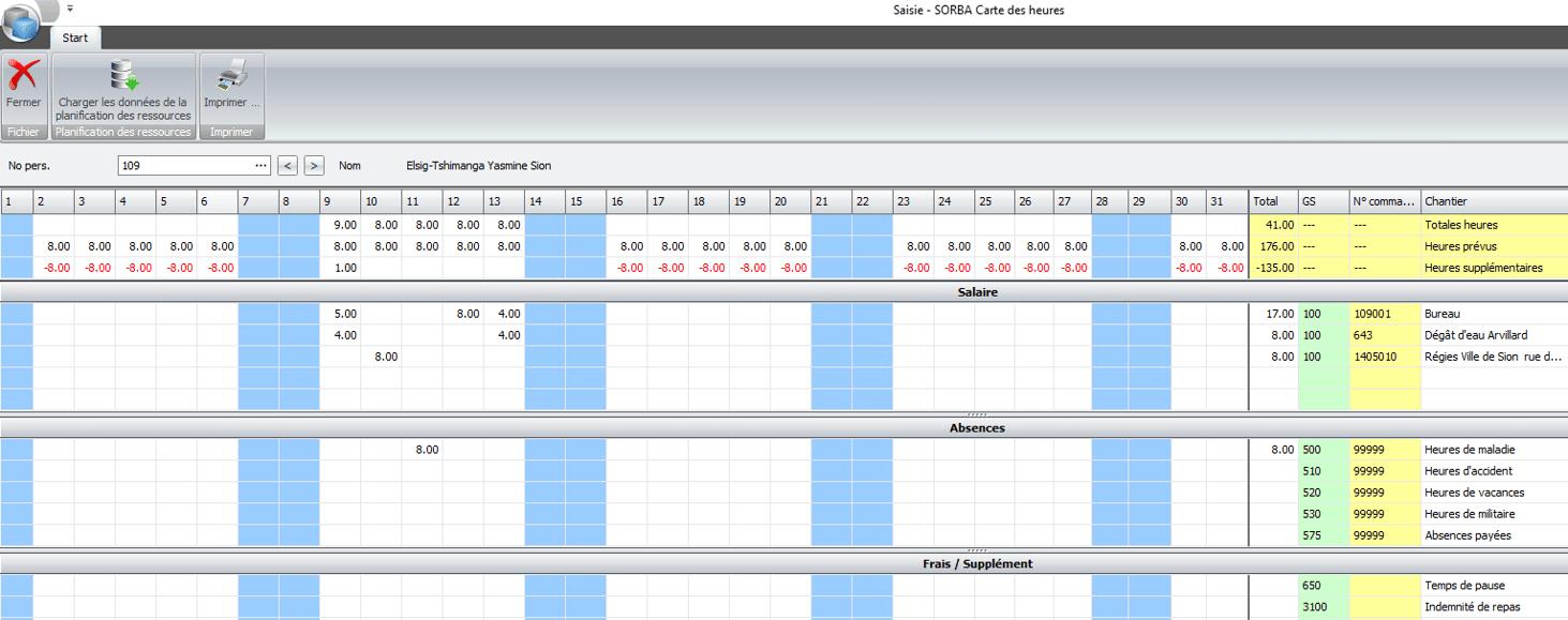 Screenshot carte des heures des employés