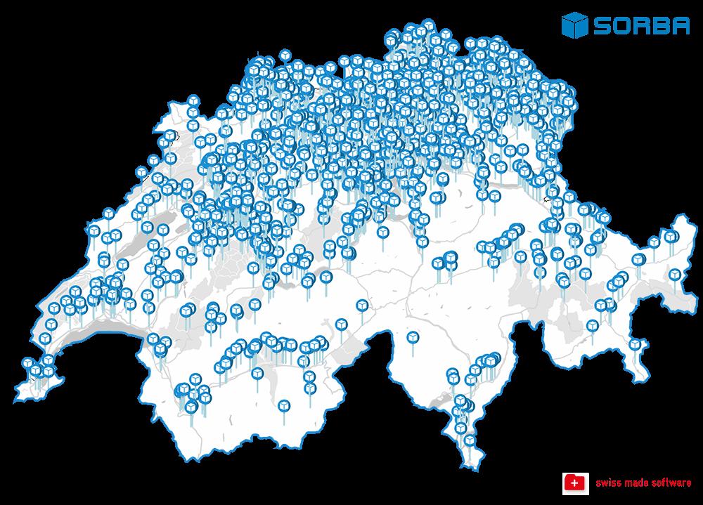 Karte nur Schweiz mit SORBA und SMS klein
