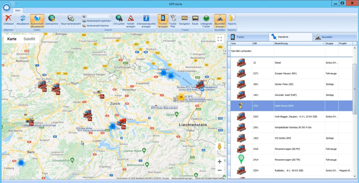 Screenshot GPS Karte Software