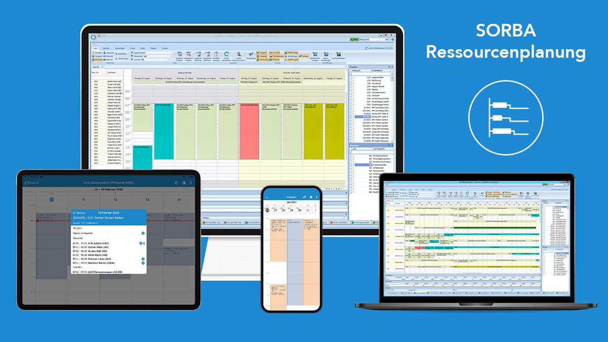Strukturierte Ressourcenplanung am Desktop, Laptop, und mobil unterwegs